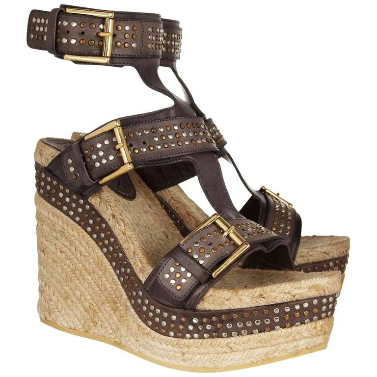 New Alexander McQueen Brown Leather Studded Platform Espadrille Wedge 39 - 9