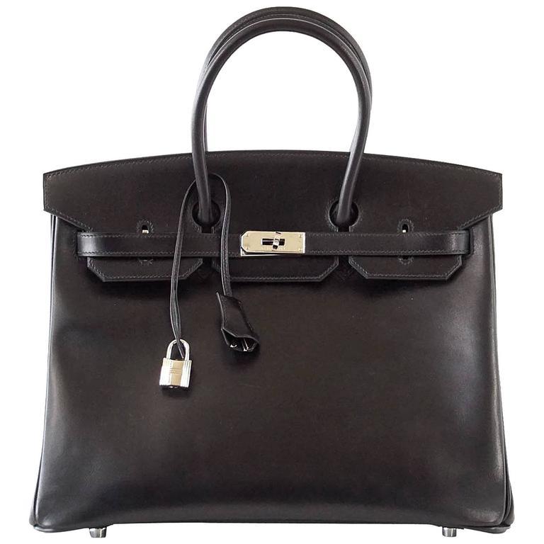 Hermes Birkin 35 Bag Black Rare Box Leather Palladium Hardware 1