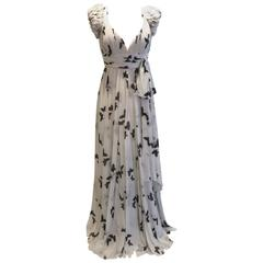 Andrew GN iconic long  butterfly print black and white evening dress.