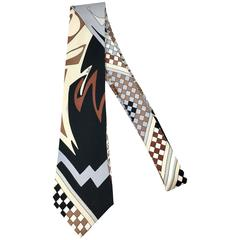 1960s Emilio Pucci Abstract Brown and Black Necktie Original Packaging