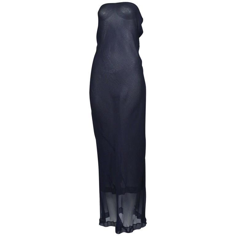 Comme des Garcons Navy Sheer Convertible Dress