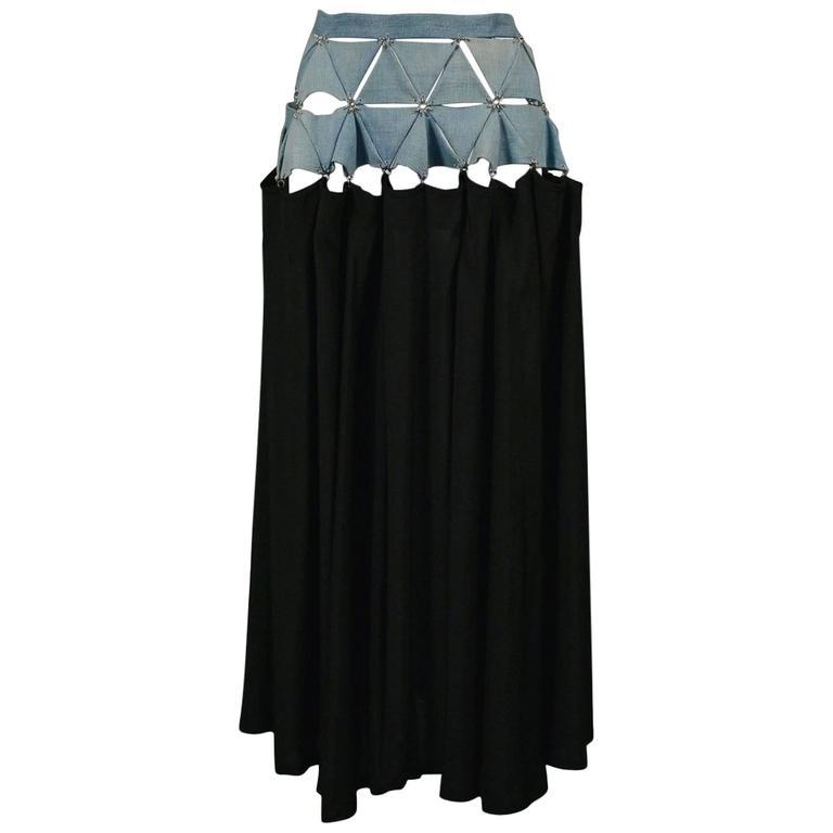 Yohji Yamamoto Denim & Black Puzzle Skirt 2004