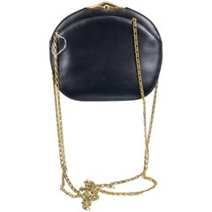 Cartier Black box calf clutch or gold chain shoulder bag gold clasp with stone