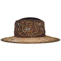 1920s Brass Lace & Beaded Wide Brim Hat