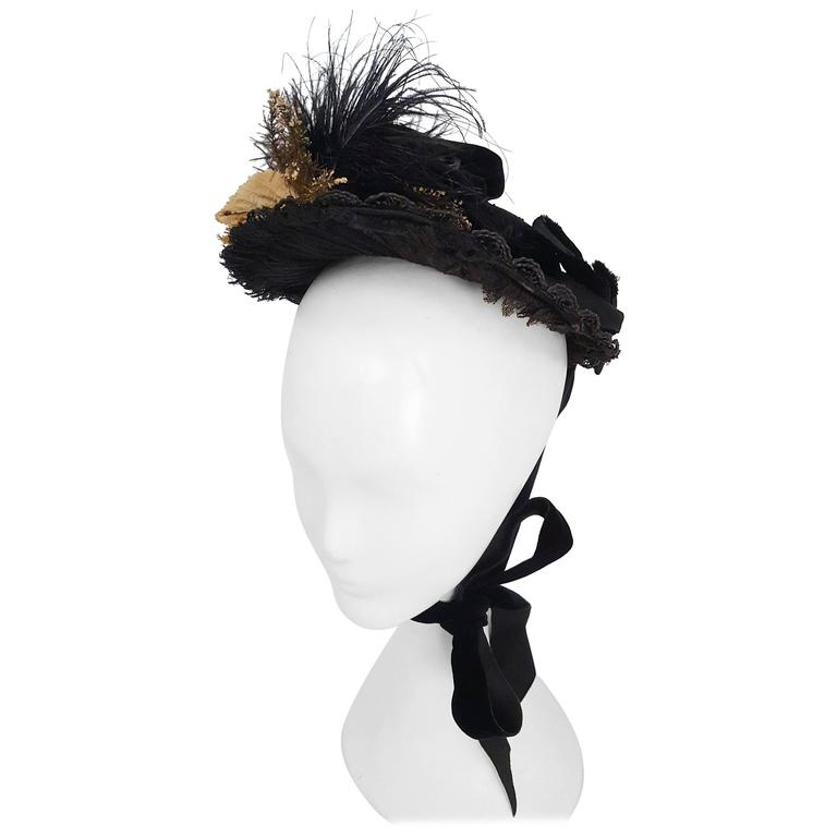 Black Victorian Bonnet w/ Foliage For Sale