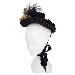 Black Victorian Bonnet w/ Foliage
