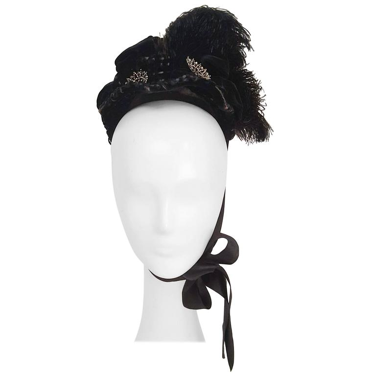 Victorian Black Bonnet w/ Feathers & Beads
