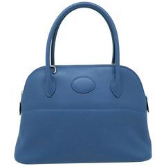 Hermes Bolide 27 Bleu Orage Blue Swift Leather Top Handle Bag