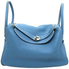 Hermes Lindy 34 Bleu Jean Blue Clemence Leather Shoulder Bag