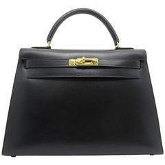 Hermes Kelly 32 Noir Black Box Leather Gold Metal Top Handle Bag