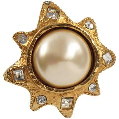 Vintage 1980s Alexis Lahellec Paris Signed Pin Brooch Gilt Sun with Large Pearl