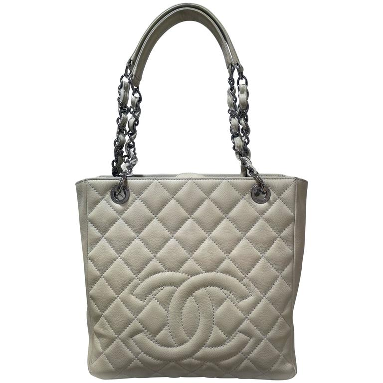 Chanel white silver hardware shoulder bag