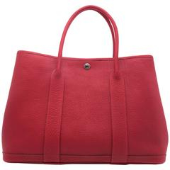 Hermes Garden Party PM Bougainvillier Red Negonda Leather Tote Bag