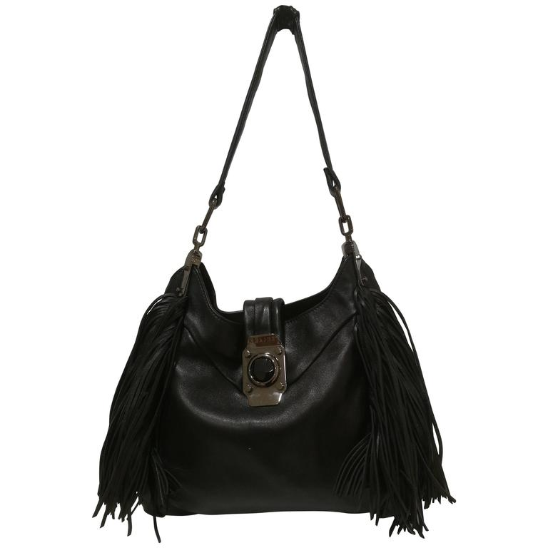 Celine black leather with Fringes Bag