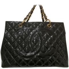 Chanel black patent leather gold hardware bag