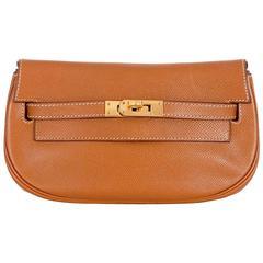 Hermes Kelly Pochette Clutch Gold Convertible Belt bag Vintage Must