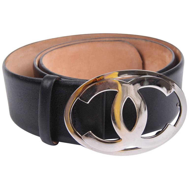 chanel belt. chanel leather belt - black/silver 1 a