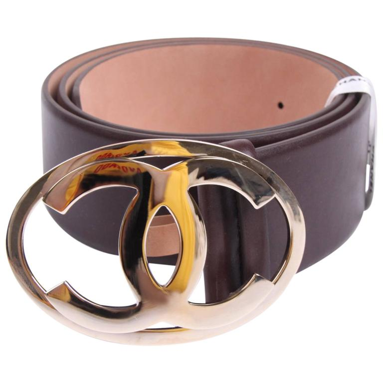 Chanel Leather Belt - dark brown/silver  1