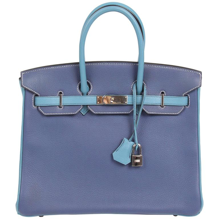 HERMES Birkin 35 Bicolor Blue Jean and Brighton Blue Very Rare For Sale