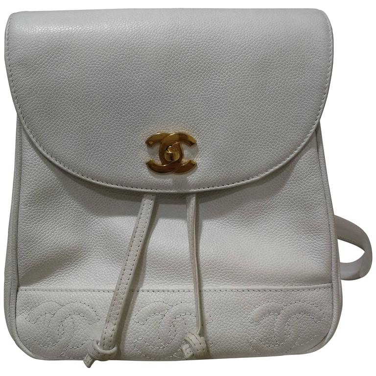 Chanel white Caviar Leather CC Backpack