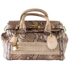 GUCCI Bag Snakeskin Taupe Satchel Rich Details Gold Hardware mint