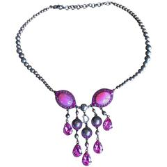 Christian Dior by John Galliano Faux Pink Crystal Necklace in Rose Gold