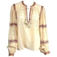 Russian Collection Yves Saint Laurent Beaded 1976 Pheasant Blouse Shirt Numbered
