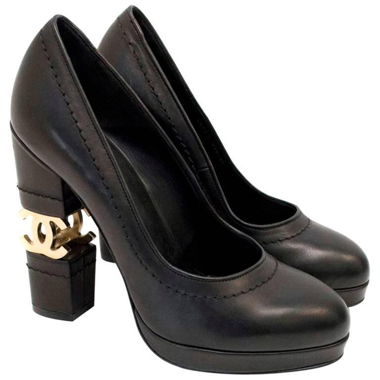 Chanel Black with Gold CC Logo 'Escarpin' Platform Heels 1
