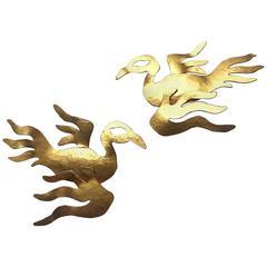 Wonderful large gilded metal 'phoenix' earrings, Herve Van Der Straeten, 1980s