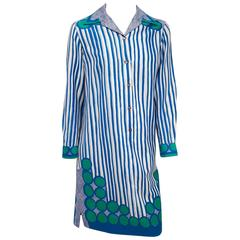 1960s Vera Graphic Print Cotton Sheath Dress