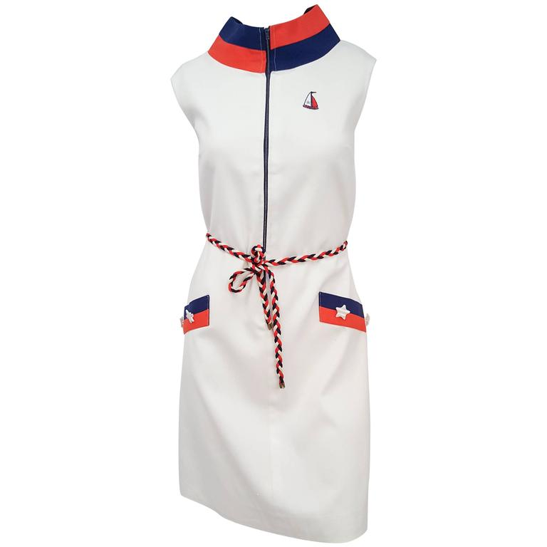 1960s Sailor Red, White, & Blue Mod Dress For Sale