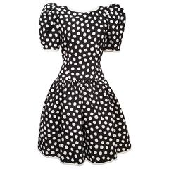 1980s Black & White Polka Dot Party Dress