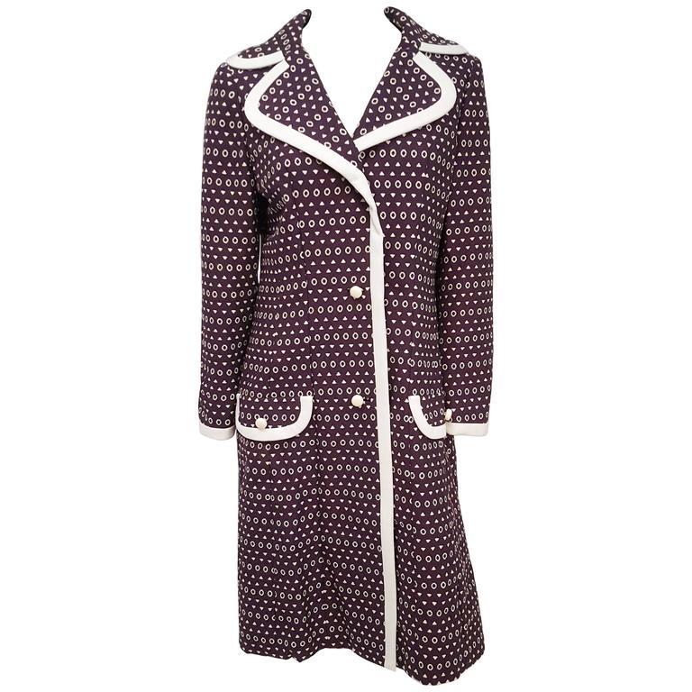 1960s Lilli Ann Purple Coat w/ White Contrast Trim
