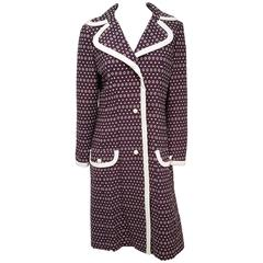 1960s Lilli Ann Purple Coat w/ White Contrast Trim
