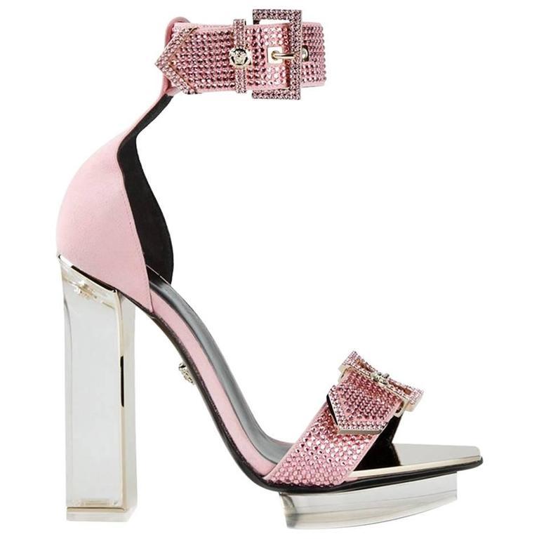 VERSACE pink crystal embellished plexi platform sandals  For Sale