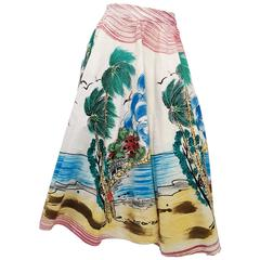 1950s Hand Painted Mexican Souvenir Skirt