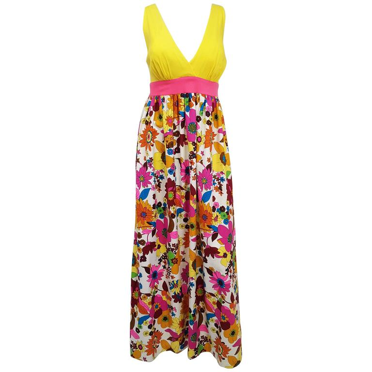 1960s Flower Print Maxi Dress