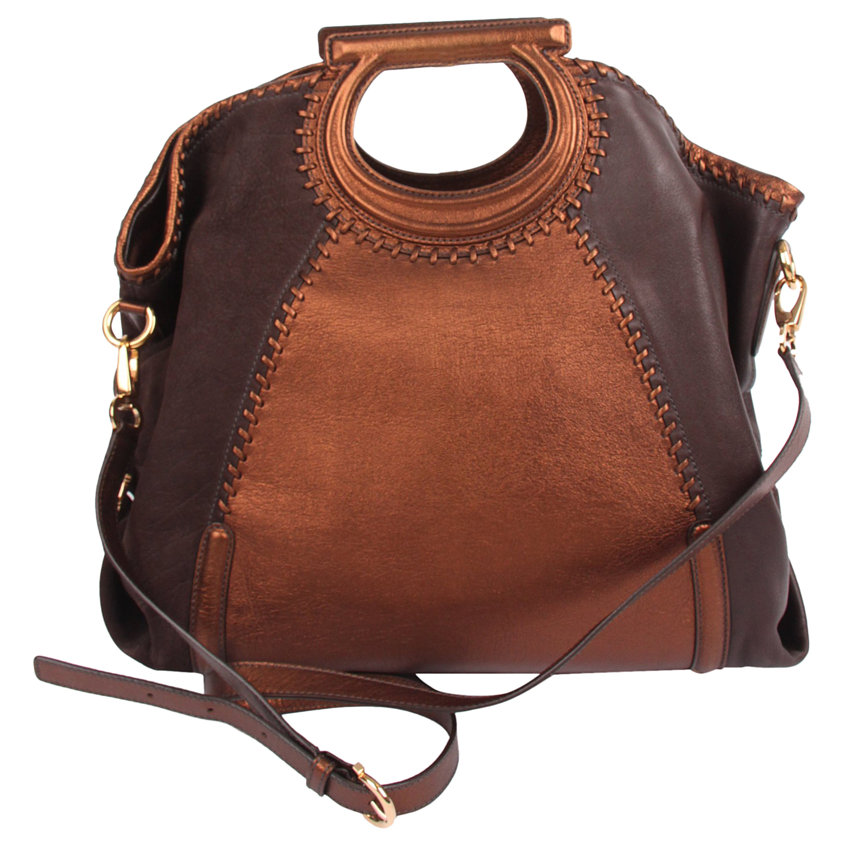 5fc1db22a0 Salvatore Ferragamo Leather Top Handle Bag - brown metallic brown For Sale  at 1stdibs