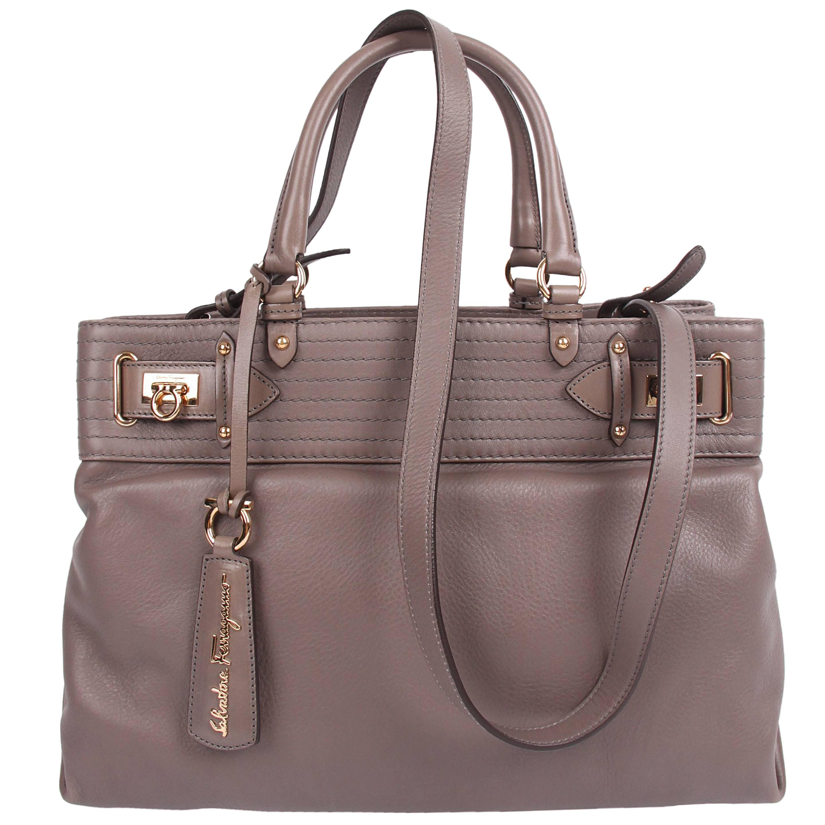 Salvatore Ferragamo Leather Buckled Tote Bag Visone - taupe Salvatore Ferr  For Sale at 1stdibs 3ff78c912ae64