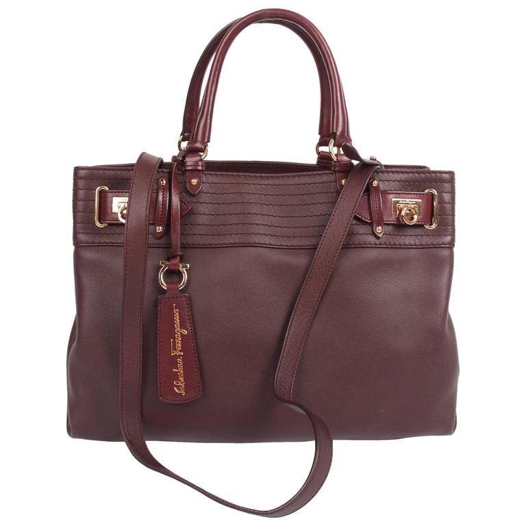 Salvatore Ferragamo Leather Buckled Tote Bag Visone - burgundy red at  1stdibs 0b32a8222e3c7