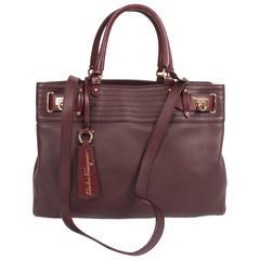 Salvatore Ferragamo Leather Buckled Tote Bag Visone - burgundy red