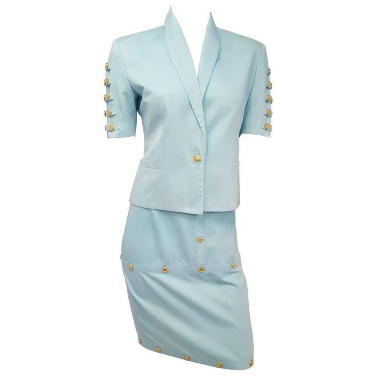 90s Versace Jeans Couture Sky Blue Medallion Detail Blazer & Skirt Set