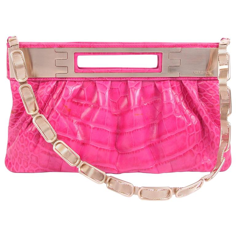 Versace Leather Clutch Croco Print - pink  For Sale
