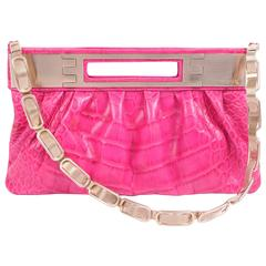 Versace Leather Clutch Croco Print - pink