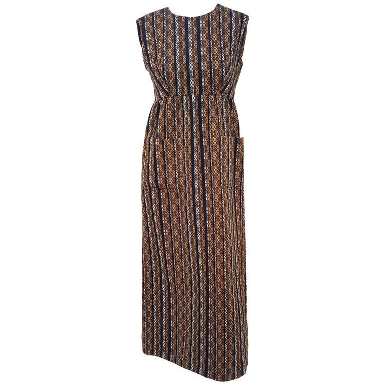 1960s I. Magnin Wool Maxi Dress