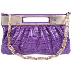 Versace Leather Clutch Croco Print - purple 2008