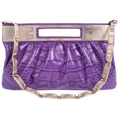 Versace Leather Clutch Croco Print - purple 2008