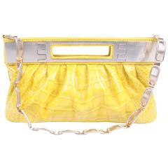 Versace Leather Clutch Croco Print - yellow 2008