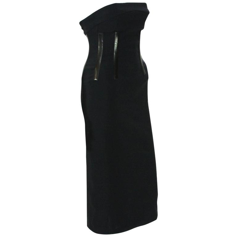 TOM FORD for GUCCI S/S 2001 Corset Leather Detail Cocktail Black Dress 40 - 2/4