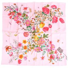 Gucci Silk Scarf Flower Print Gardeny - pink